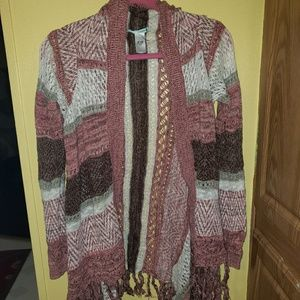 Pink, Brown, and White Open Cardigan Sweater